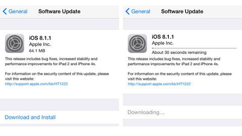 iOS 8.1.1: Chủ yếu sửa lỗi cho iPad 2 và iPhone 4S
