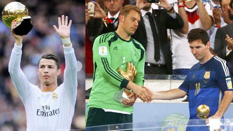 Ronaldo đang có rất nhiều cơ hội để bảo vệ thành công danh hiệu QBV, dù hai đối thủ Messi và Neuer cũng nặng ký