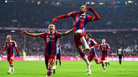Ribery có bàn thứ 100 cho Bayern