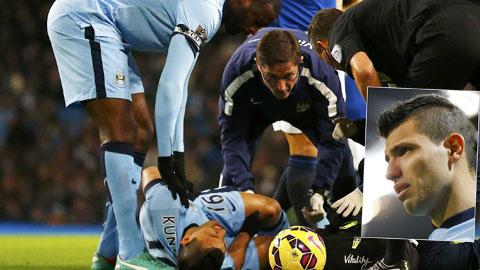 Aguero nghỉ ít nhất 1 tháng: Cơn đau không thuốc chữa của Man City