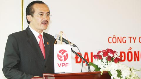 Ông Võ Quốc Thắng - Chủ tịch HĐQT công ty VPF phát  biểu tại Đại hội đồng cổ đông thường niên năm 2013