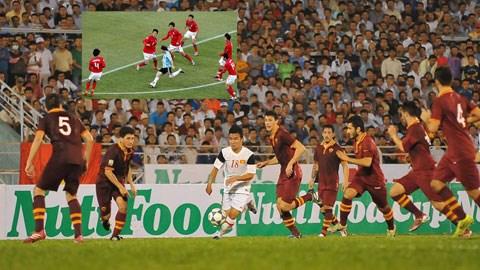 Hoàng Thanh Tùng đi bóng trong vòng vây của 6 hậu vệ AS Roma