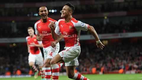 Walcott (trái) sẽ thay Sanchez làm đầu tầu trên hàng công Arsenal