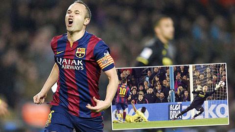 Iniesta và Messi (ảnh nhỏ) đều ghi bàn trong chiến thắng của Barca trước Villarreal