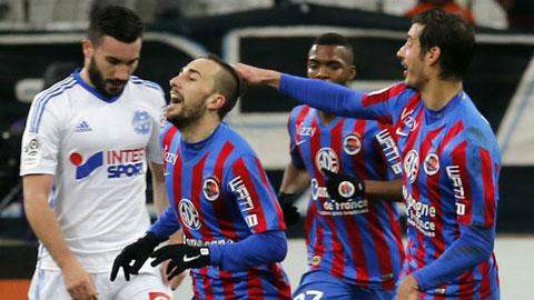 Niềm vui chiến thắng của các cầu thủ Caen