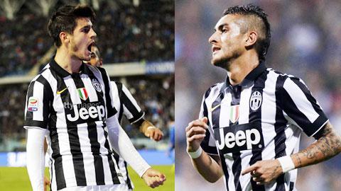Morata (trái) và Pereyra, 2 bản hợp đồng thành công của Juventus mùa này