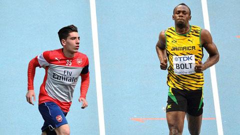 Nếu ra đường đua, Bellerin sẽ vượt Bolt trong 40m đầu