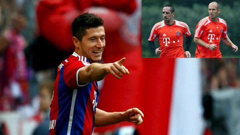 Vắng Robben và Ribery (ảnh nhỏ), các pha bóng tấn công của Bayern sẽ được dồn nhiều cho Lewandowski