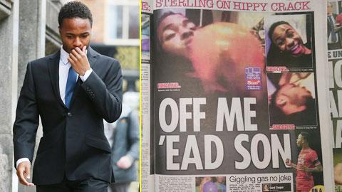 Báo chí Anh đăng tải hình ảnh Sterling cười ngây dại sau khi hít hippy crack