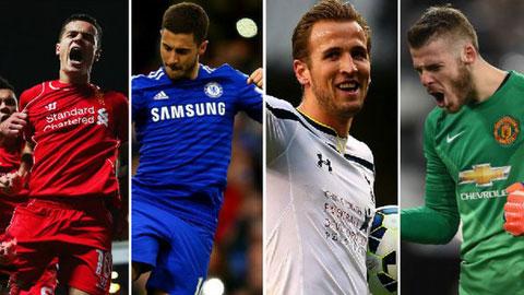 Coutinho, Hazard, Kane và De Gea (từ trái qua phải) được đề cử danh hiệu cầu thủ hay nhất Premier League mùa này