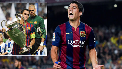 Xavi (trái) sẽ là quá khứ, còn Suarez là tương lai của Barca