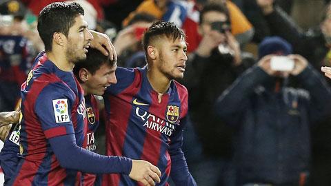 Suarez, Messi và Neymar đóng góp tới 71,9% số bàn thắng của Barca ở La Liga mùa này