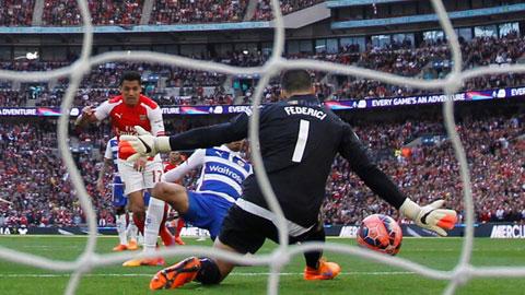 Nhờ may mắn Arsenal mới vượt qua Reading sau 120 phút