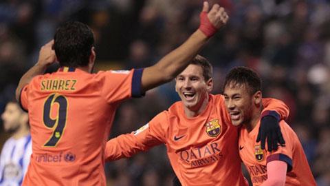 Messi, Suarez và Neymar đóng góp tới 2/3 số bàn thắng của Barca tại La Liga