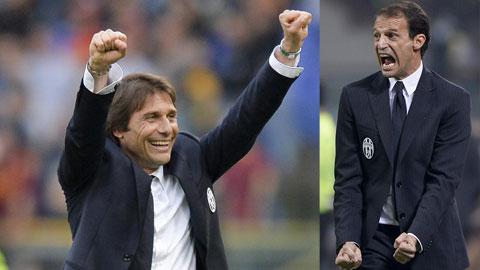 HLV Conte (trái) sẽ học Allegri để Italia đá với 4 hậu vệ trước Croatia