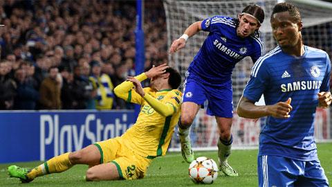 John Obi Mikel (bìa phải) và Filipe Luis nhiều khả năng sẽ bị Chelsea thanh lý vào Hè này