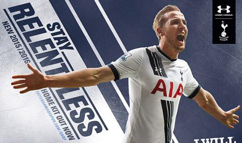 Tiền đạo Harry Kane và áo đấu sân nhà của Spurs