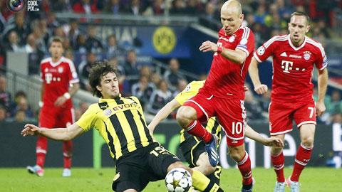 Nếu không chơi tốt ở đấu trường châu lục, Bayern (áo đỏ) cũng như Dortmund hoàn toàn có thể khiến Bundesliga mất suất dự Champions League
