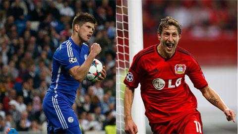Cả Huntelaar lẫn Kiessling (phải) đều ghi bàn cho đội bóng của mình ở trận ra quân Bundesliga mùa này