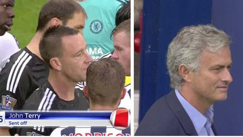 Nụ cười ngao ngán của HLV Mourinho khi Terry nhận thẻ đỏ