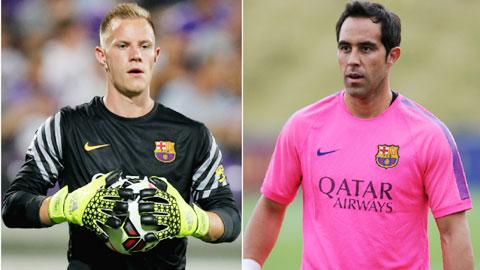 Cả Bravo và Ter Stegen (trái) đều sa sút, không đáng tin cậy với Barca