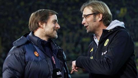 HLV Tuchel (trái) đang giúp Dortmund thăng hoa như dưới thời Juergen Klopp