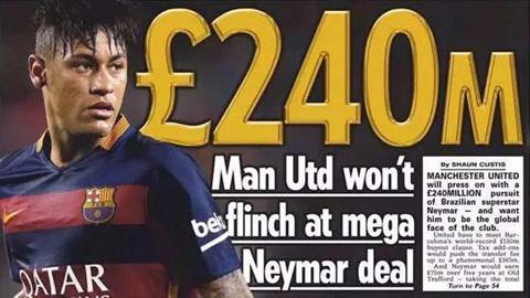 Neymar đang được M.U theo đuổi