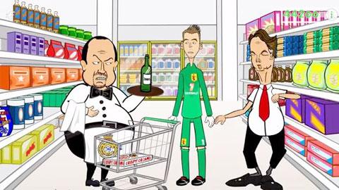 """Bức ảnh chế vụ HLV Benitez đành rời siêu thị mà không có """"món hàng"""" De Gea"""