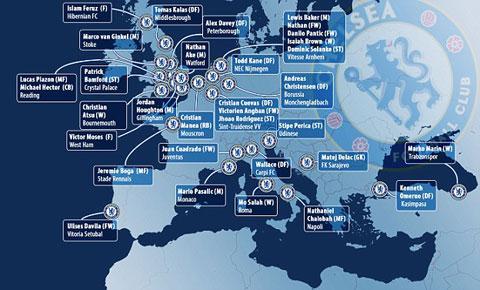 33 cầu thủ Chelsea đang chơi cho các đội bóng khác theo dạng cho mượn