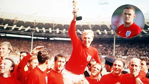 Rooney (ảnh nhỏ) chưa có chiến tích vô địch World Cup như Bobby Robson trước đây