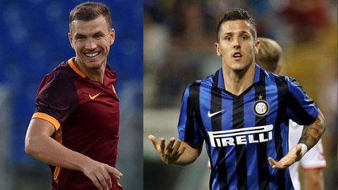 Dzeko và Jovetic (phải) xứng đáng với số tiền lớn Roma và Inter bỏ ra mượn họ