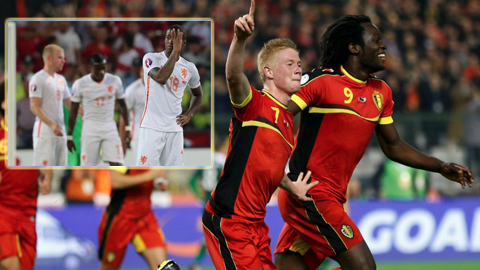 Bỉ thừa thãi ngôi sao, thậm chí cầu thủ có giá 75 triệu euro De Bruyne (7) cũng chưa chắc có suất ở ĐTQG trong khi Hà Lan (ảnh nhỏ) lại thiếu nhân tài