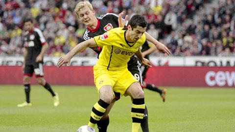 Những năm gần đây, Dortmund (áo vàng) luôn gặp khó khăn mỗi khi gặp Leverkusen