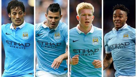 Aguero, Sterling, De Bruyne và Silva là những cầu thủ quan trọng bậc nhất của Man City