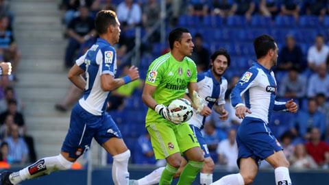 Thủ thành Navas chưa một lần phải vào lưới nhặt bóng nhưng điều đó không đồng nghĩa hàng thủ Real chơi vững chắc