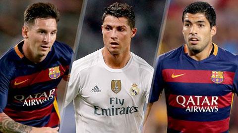 Thành tích ghi bàn của Suarez kém xa Messi và Ronaldo