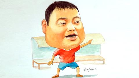 Bức chân dung hài mà CĐV Hải Phòng tặng HLV Trương Việt Hoàng - Ảnh: Facebook nhân vật