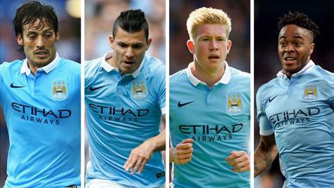 4 ngôi sao tấn công của Man City sẽ là Silva, Aguero, De Bruyne, Sterling