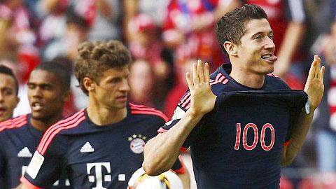 Lewandowski là cầu thủ nước ngoài đạt cột mốc 100 bàn thắng nhanh nhất tại Bundesliga