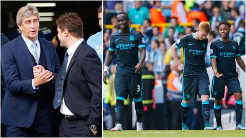 HLV Pellegrini (bên trái) có lý do để giải thích cho những thất bại gần đây của Man City