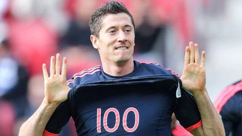 Lewandowski đã chạm mốc ghi 100 bàn cho Bayern