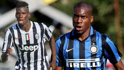 Pogba (trái) cùng Kondogbia sẽ là niềm hy vọng chính nơi tuyến giữa Juventus và Inter