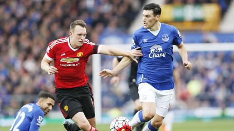 Jones (giữa) là cầu thủ chơi ấn tượng nhất hàng thủ M.U trong trận thắng Everton